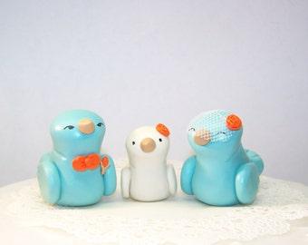 Love Bird Wedding Cake Topper Trio - Choice of Colors