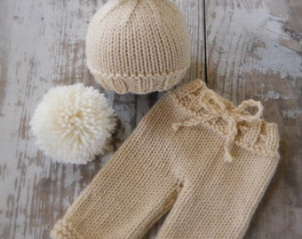 Knit Bunny Hat and Pants Set, Newborn, Baby Knitted Cap, Tan, Cream, Pompom Tail,  Infant Photo Prop, Longies