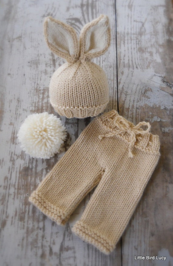 Knitting Pattern For Baby Rabbit Hat : Knit Bunny Hat and Pants Set Newborn Baby Knitted Cap Tan