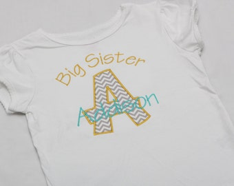 Big Sister Shirt, Little Sister Shirt - Personalized Initial Applique - CHEVRON