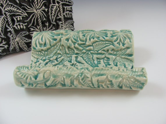 Porcelain Ceramic Soap or Sponge Dish in Aqua Green Textured, Handmade Pottery by Licia Lucas Pfadt