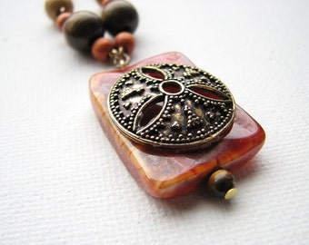 Long beaded necklace | fire agate pendant | stone