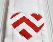 Valentine's Day Heart Burp Cloth in Chevron