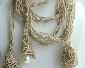 One of a Kind Crochet Linen Necklace with Three Big Pearls