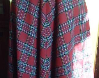Vintage Plaid Circle Skirt