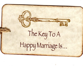 100 Wedding Tags, Wedding Wish Advice Card Tags, Wedding Favor Tags, Key To A Happy Marriage Skeleton Key Tags