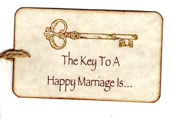 100 Handmade Wedding Wish Tags / Advice Cards / Favor Tags / Escort Cards / Key To A Happy Marriage Hang Tags / Place Cards  Vintage