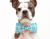 Blue Plaid Dog Bow Tie - Wedding Accessories For Dogs