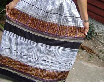100 percent hemp embriodery pleat skirt natural blue