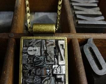 Large Rectange Letterpress Type Pendant in Brass