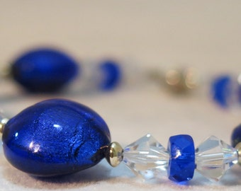 Blue Venetian Glass 925 Sterling Bracelet