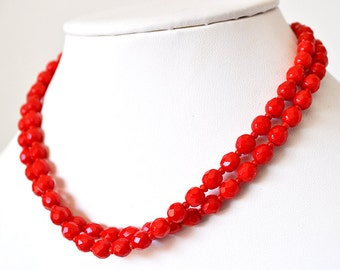 Double Strand Red Glass Necklace West Germany