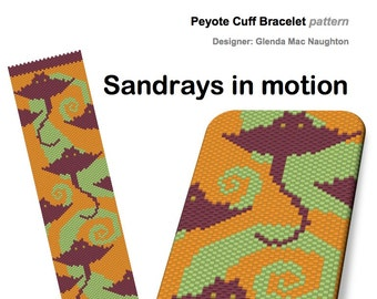 Sandrays in Motion peyote bracelet Instant Downloadable Pattern PDF File