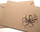 Octopus Kraken Note Cards - Nautical Gift Cards - Thank You Cards - Brown Kraft Paper - Stationery