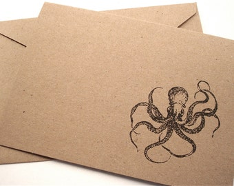 Octopus Note Cards - Kraken - Nautical Stationery - Blank Kraft Paper