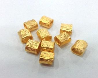 5 Pcs  Mini Tube , Gold Plated Brass  G310