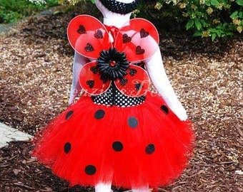 5-Piece Ladybug Tutu Dress Costume - Size NB to 24 Months - Can Be Worn Different Ways