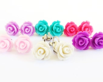 Clip On Rose Earrings- Choose Your Color- Clip On Nickel and Lead Free- 10mm
