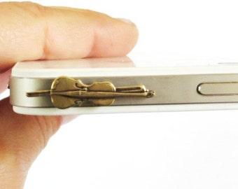 Violin iPhone Cell Phone Dust Plug- Tablet Dust Plug- iPhone Dust Plug- Brass
