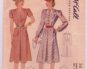 McCall 3698 Vintage 1940s Dress Sewing Pattern Bust 32 Inches Size 14