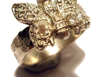 Fine Silver Butterfly Ring With Two White Zircon Eyes Size 8 One Of A Kind Rare Handmade Lisajoy Sachs Design PMC Metal Clay Recycled Silver