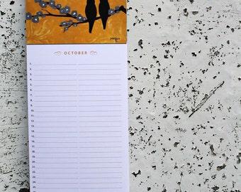 Birthday Calendar, Bird Art, Hostess Gift