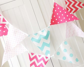 Banner, Bunting, Fabric Pennant Flags, Aqua Blue, Hot Pink, Light Pink, Chevron, Polka Dot, Baby Girl Nursery Decor, Photo Prop, Birthday