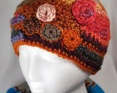Pumpkin Spice Freeform Crochet Hat - Freeform Crochet