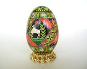 Green and red goose Pysanka, batik egg, Ukrainian Easter egg, hand painted egg with horses