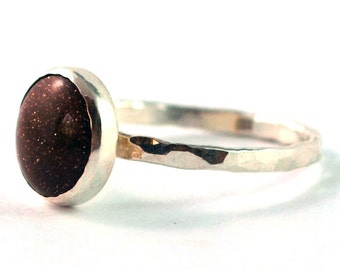 Goldstone Cabochon Sterling Silver Stacking Ring