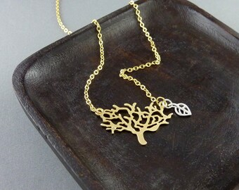 Tree of life. Necklace. Gold plated. Tree. Modern. Leaf.