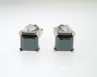 1.60 Carat Princess Cut Fancy Black Diamond Stud Earrings 14K White Gold HandMade Earrings