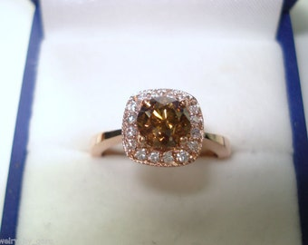 1.02 Carat Champagne Brown Diamond Engagement Ring, Wedding Ring 14K Rose Gold Halo Pave Handmade Unique