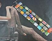 Recycled Tin, Upcycled Tin, Vintage Metal, Tin Can, Tin bracelet, Vintage Can, Recycled Can, recycled bracelet, flowers