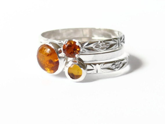 Silver amber rings honey gold Stacking gemstone rings set sterling silver rings amber and citrine rings