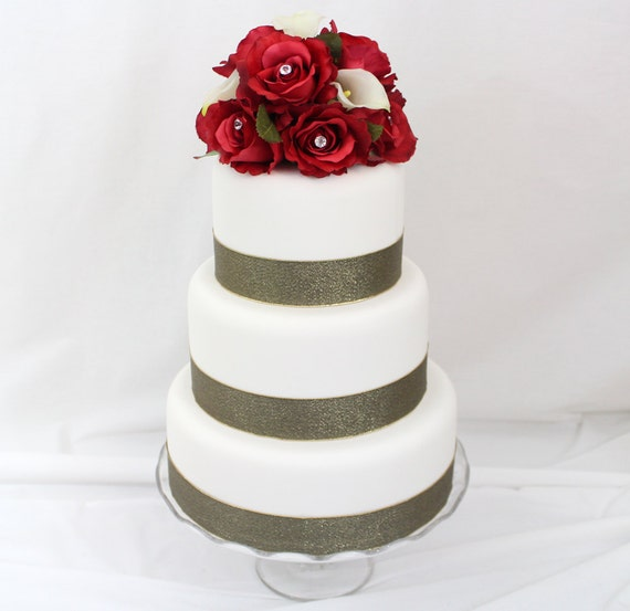 Silk Flower Wedding Cake Toppers: Wedding Cake Topper Calla Lily Red Rose Silk Flower Wedding
