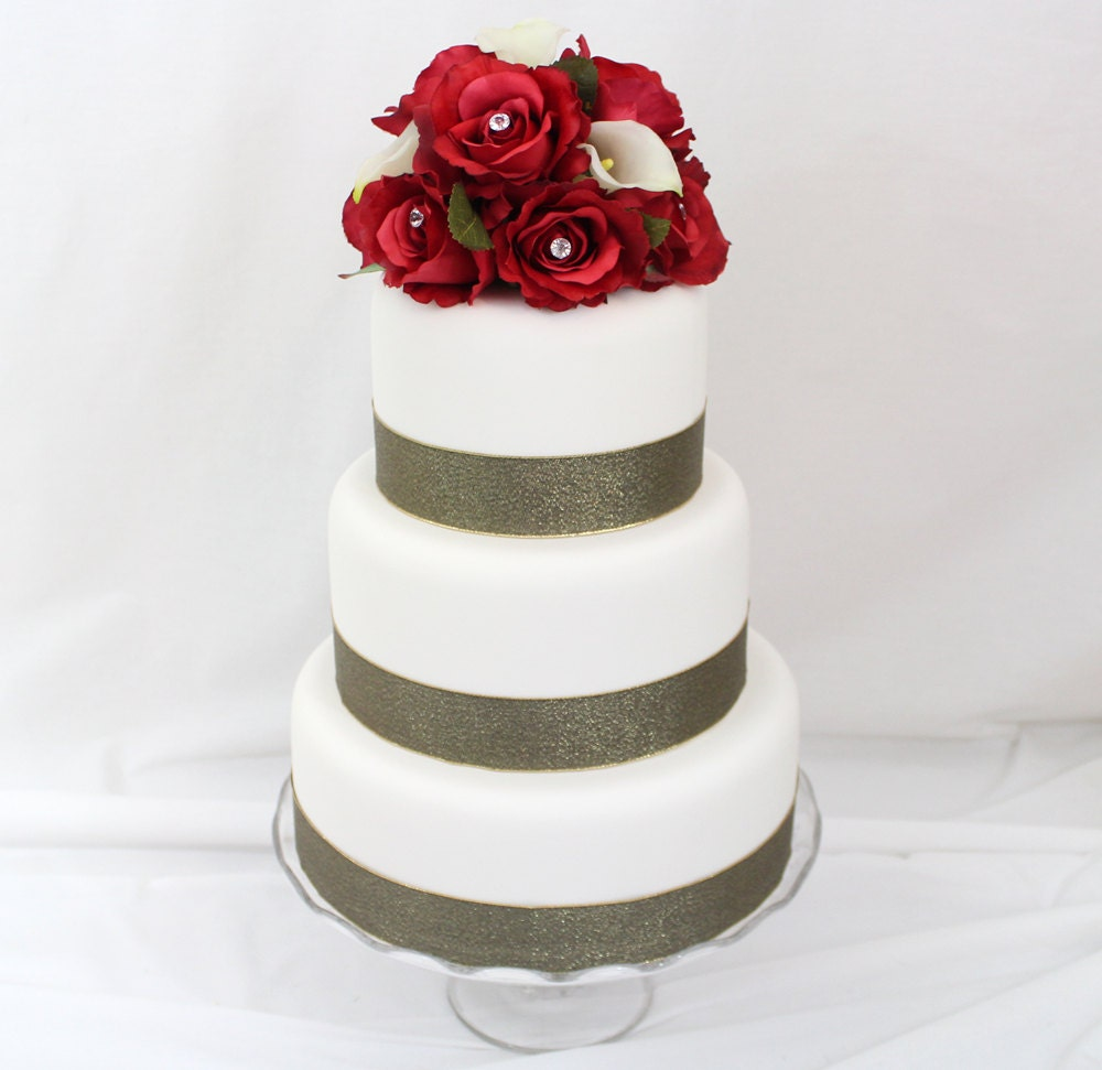 wedding cake toppers red roses wedding cake topper calla silk flower wedding 26588