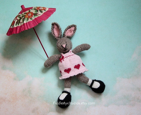 Kids Toy Easter Bunny - Hand Knit Stuffed Animal - Children Spring Soft Knit Toy Rabbit in Pink Dress (Ready to Ship)