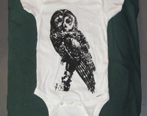 Baby Northern Spotted Owl Onesie - Large 24 months - Black on White - cute hoot onsie nature bird animal cozy 18 toddler infant