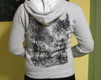 Forest Wins Hoodie - Black on Grey, Small - green anarchy rewild line art drawing punk shirt hoody sweater hooded sweatshirt hood pullover