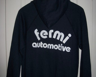 Vintage 1980's Fermi Automotive Dark Blue hooded Hoody Sweatshirt size Medium Car Club
