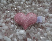 Pink Puffy Glitter Heart Hair Clip - No Slip Grip - Baby - Toddler - Girl - Teen - Adult Hair Clip