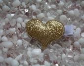 Gold Puffy Glitter Heart Hair Clip - No Slip Grip - Baby - Toddler - Girl - Teen - Adult Hair Clip