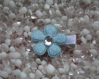 Blue Glitter Flower with Rhinestone Center Hair Clip - No Slip Grip - Baby - Toddler - Girl - Teen - Adult Hair Clip