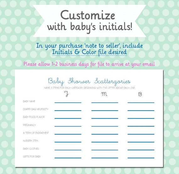 Baby Shower Scattergories Customizable DIY By Andshelovedflowers