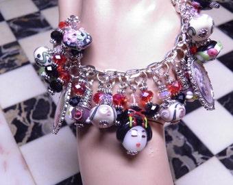 Geisha Charm Bracelet, Geisha Jewelry, Artisan Handcrafted with Lampwork Beads, Asian Jewelry, Japanese Jewelry, Steampunk Jewelry OOAK #1