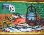 Fisherman's Catch Tea Towel, Bar Towel, Wall Hanging by Vony France, Unused