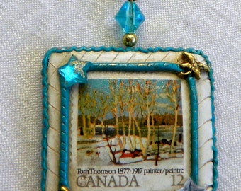 Canadian Art Pendant Group of Seven Postage Stamp Pendant Necklace Canadian Artist Tom Thomson Polymer Clay