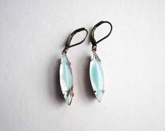 pale seafoam blue / green givre glass navette drop earrings - vintage rhinestone leverback