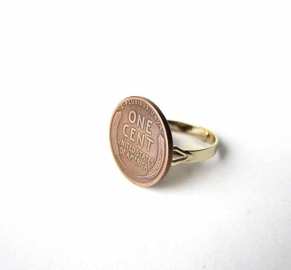 lucky penny ring - vintage wheat penny jewelry
